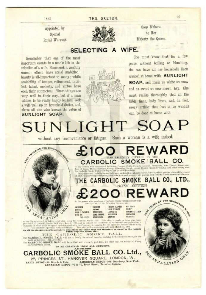 1893 CARBOLIC SMOKE BALL Print VICTORIAN AD SUNLIGHT SOAP SELECTING WIFE Liptons